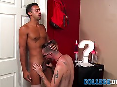 Jay strokes his hard cock until he cums all over himself and then lies back and lets Anthony bust a nut on him next!