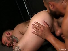 Damian is in the bathroom stroking his cock awaiting anybody that is willing to come over to the glory hole. Hoytt is cruising the bathroom and lucky for him he hears Damian behind the stall. Hoytt walks up to the hole to check it out and he sticks his ha