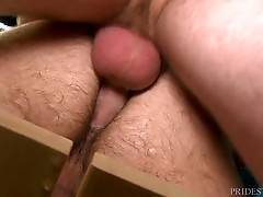 Nate also gives Jason a great blow job while he`s fucking him on the bench. He goes back and forth for a while until Jason shoots a big load all over himself and we see Jason pull out and he begins cumming as he rips the condom off, he is so turned on and