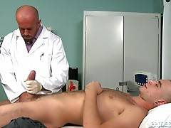 Doctor Stevens is always up for a challenge and he wants to be fucked by this monster cock. Alexander bends him over and goes balls deep into his Doctor. Matt takes it in slow but once he is warmed up they change positions a few times and Matt rides him l