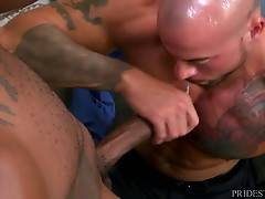 Sean looks up and Osiris kisses him which shocks Sean but once Osiris tells him that if he wants a good raise he needs to pull out his big cock.