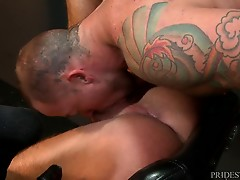 Sean recalls how great it felt when Michael buried his wet tongue deep in his ass. Michael gets Sean`s tight hole ready for his hard dick. He slowly pushes it in and pounds Sean`s eager ass. Once Sean`s tight ass relaxes he gets fucked balls deep slow and