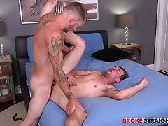 Dakota sucks John�s dick while John rims his hole, and when both guys are horny as fuck Dakota bends over and lets John penetrate his tight ass.  John goes in slow, letting Dakota�s ass stretch around his thick cock as he fucks him raw.  They flip and Dak