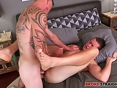 Cage lubes up and slowly slides his big shaft into Damien�s ass, taking it nice and slow until he�s balls deep inside of Damien, and then letting Damien�s hole stretch around his fat dick as Damien moans in pain and pleasure.  They try a different positio