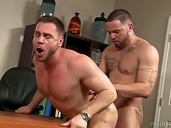 The passion is apparent and soon their clothes are coming off. Julian`s pulls out Hans`s big cock and starts sucking him. Hans then sucks Julian through his Dress pants and then he pulls them off and he tells Julian to eat his ass. Julian rims Hans over t