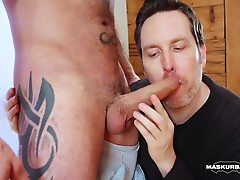 Watch Manuel get stripped, worshipped, sucked & milked to the last drop of cum...