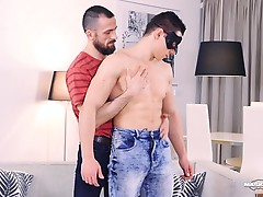 Peter`s new stepfather found his masked porn scene online. He threatened to tell his mother unless he does what he says. Peter had no choice but to accept. Seconds later, he had him all over his muscular body. Without wasting any time, the horny stepdad h